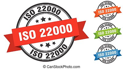 iso 22000 stamp. round band sign set. ribbon label