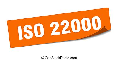 iso 22000 sticker. square isolated peeler sign. label