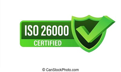 ISO 26000 Certified badge, icon. Certification stamp. Flat design