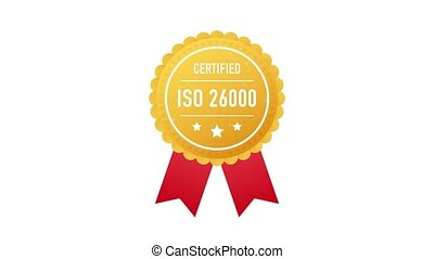 ISO 26000 certified golden label on white background. Motion graphics