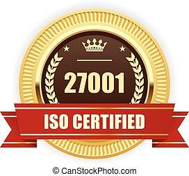 iso, 27001, 証明される, メダル, -, 情報, セキュリティー, 管理