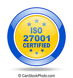 iso 27001 blue and yellow web glossy round icon