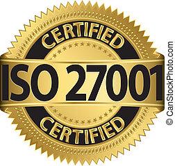 iso, 27001, certificado, dourado, etiqueta, v