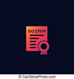 ISO 27001 certificate vector icon, eps 10 file, easy to edit