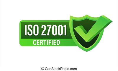ISO 27001 Certified badge, icon. Certification stamp. Flat design