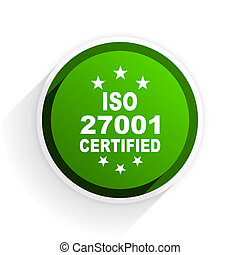 iso 27001 flat icon with shadow on white background, green modern design web element
