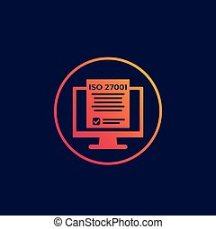 ISO 27001 information security standard icon, eps 10 file, ...
