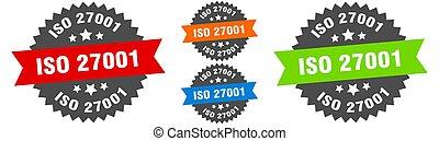 iso 27001 sign. round ribbon label set. Stamp