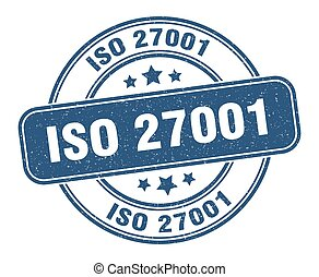 iso 27001 stamp. iso 27001 sign. round grunge label