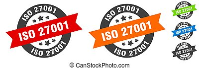 iso 27001 stamp. iso 27001 round ribbon sticker. label