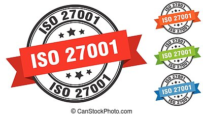 iso 27001 stamp. round band sign set. ribbon label