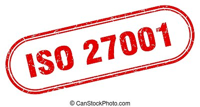iso 27001 stamp. rounded grunge sign on white background