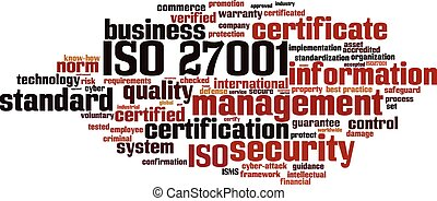 ISO 27001 word cloud concept. Vector illustration