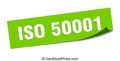 iso 50001 sticker. square isolated peeler sign. label
