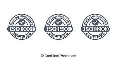 ISO 9001, 14001 and 22000 certified stamps collection - quality management system international standard emblems set - isolated vector signs