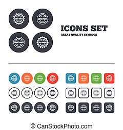 ISO 9001 and 14001 certified icons. Certification star stamps symbols. Quality standard signs. Web buttons set. Circles and squares templates. Vector