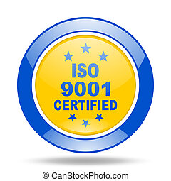 iso 9001 blue and yellow web glossy round icon