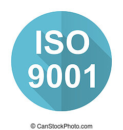 iso 9001 blue flat icon