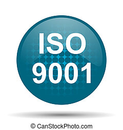 iso 9001 blue glossy web icon