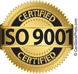 iso, 9001, certificado, dourado, etiqueta, ve