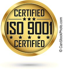 ISO 9001 certified gold label, vector illustration