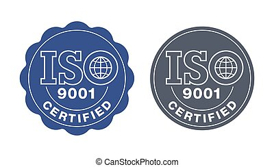 ISO 9001 certified seal stamp - international quality management system circular sign - isolated vector emblem