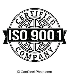 ISO 9001 certified stamp - ISO 9001 certified grunge rubber...