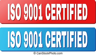 ISO 9001 CERTIFIED Title on Blue and Red Rectangle Buttons