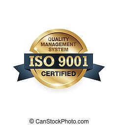 ISO 9001 conformity to standards stamp - golden medal award with international quality management system guarantee emblem - isolated vector icon