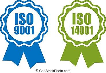 iso, 9001, e, 14001, padrão, certificado, ícone