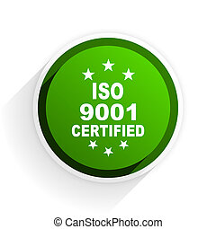 iso 9001 flat icon with shadow on white background, green modern design web element