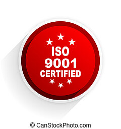 iso 9001 flat icon with shadow on white background, red modern design web element