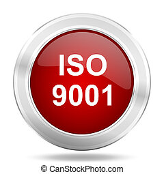 iso 9001 icon, red round glossy metallic button, web and mobile app design illustration