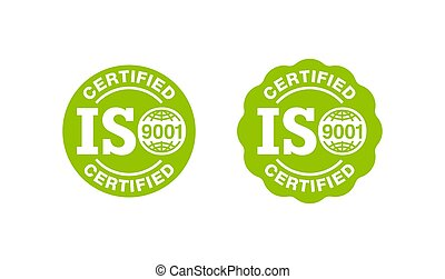 ISO 9001 certified stamp - quality management system international standard emblem - isolated vector sign