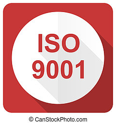 iso 9001 red flat icon