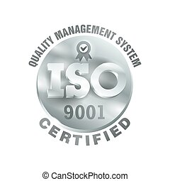 ISO 9001 silver 3D sign - certification and conformity to international standards  - golden medal award with international quality management system guarantee emblem - isolated vector icon
