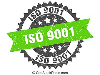 iso 9001 stamp. round grunge sign with ribbon
