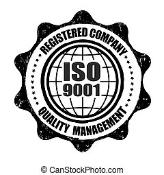 ISO 9001 grunge rubber stamp on white, vector illustration