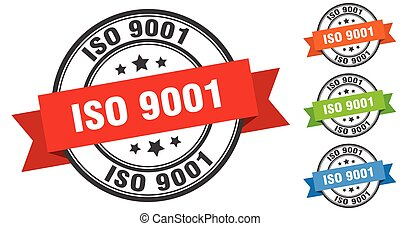 iso 9001 stamp. round band sign set. ribbon label
