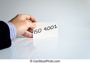 Iso 9001 text concept isolated over white background