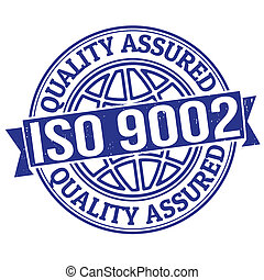 ISO 9002 quality assured grunge rubber stamp on white, vector illustration