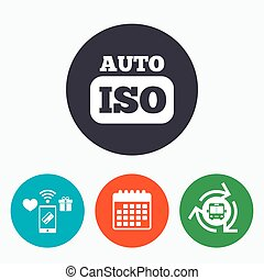 ISO Auto photo camera sign icon. Settings symbol. Mobile ...