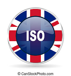 iso british design icon - round silver metallic border button with Great Britain flag