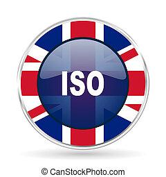 iso british design icon - round silver metallic border button with Great Britain flag