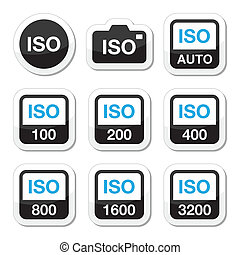ISO - camera film speed icons - Camera ISO settings vector...