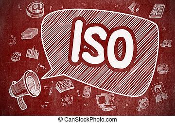ISO - Cartoon Illustration on Red Chalkboard.