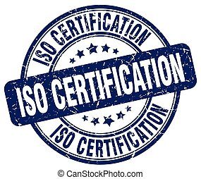 iso certification blue grunge stamp
