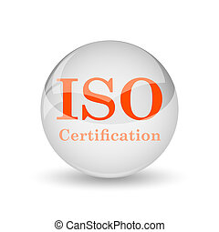 ISO certification icon. Internet button on white background....