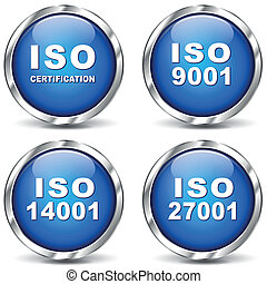 Vector illustration of iso certification icons on white background