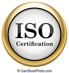 ISO certification - Shiny glossy icon with black design on...